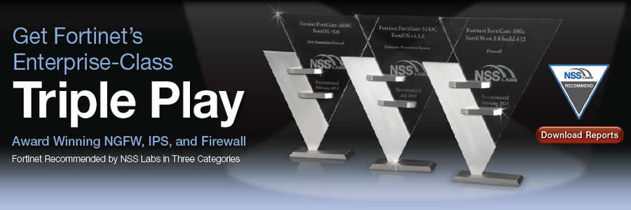 Fortinet NSS_TriplePlay award