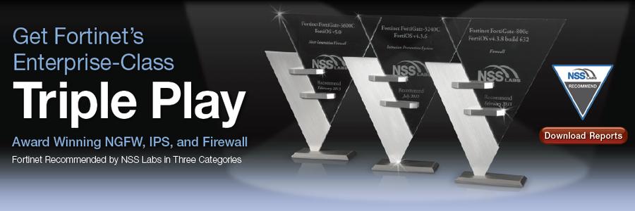 Fortinet NSS_TriplePlay award